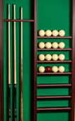 Shot of stand with billiard equipment — Stock Photo