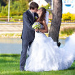 Bride and groom kissing at park against river — Stock Photo