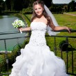 Cute brunette bride standing against lake at park — Stock Photo
