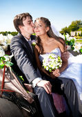 Groom kissing bride in cheek on bench at park — Stock Photo