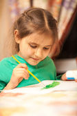 Young schoolgirl drawing with watercolors — Stock Photo