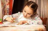 Ritratto di bambina, disegno su tela — Foto Stock