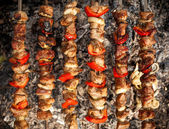 Photo of kebab being cooked on fire — Stock Photo