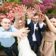 Just married couple with friends holding hands up — Stock Photo