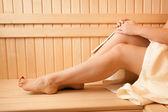 Photo of sexy women feet at sauna — Stock Photo