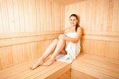 Slim woman steaming at sauna — Stock Photo