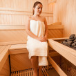 Woman sitting on bench next to sauna oven — Stock Photo #43641235