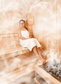 Woman in steamed finnish sauna sitting with closed eyes — Stock Photo