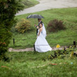 Bride and groom walking at park on rainy day — Stock Photo #43707743