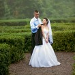 Just married couple walking at garden labyrinth — Stock Photo #43707869