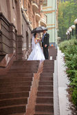 Ust married couple kissing on stairway at rain — Stock Photo