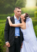 Portrait of bride kissing groom in cheek at park — Stock Photo
