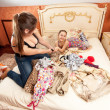 Fighting older and younger sister in bedroom — Stock Photo #44462327