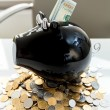 Photo of piggy bank on pile of money with dollars in slot — Stock Photo #46215511