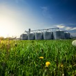 Photo of grain elevators in meadow at sunset — Stock Photo #46283711