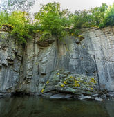 Photo of high rock wall on mountain river — Stock Photo