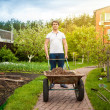 Man carrying wheelbarrow at beautiful garden — Stock Photo #46566351