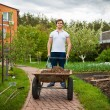 Young man carrying garden wheelbarrow — Foto de Stock