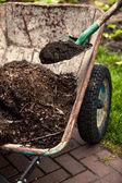 Photo of spade putting soil in old wheelbarrow — Stock Photo