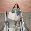 Woman with paper bag going on escalator at shopping mall — Stock Photo #50039915