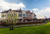 Cityscape of old european houses on canal — Stock Photo
