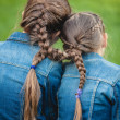 Two twins with tied long braids — Stock Photo #50041249