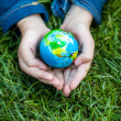 Girl holding Earth in hands against green grass — Stock Photo #50042211