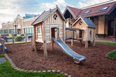 Big wooden playground at shopping mall — Stock Photo