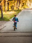 брюнетка девушка езда велосипедов на дороге в лес на закате — Стоковое фото