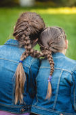Two twins with tied long braids — Stock Photo