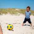 Little Kid Playing Football with Dad — Stock Photo