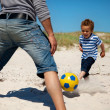Father and Son Enjoying Football Game — Stock Photo