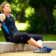 Постер, плакат: Athlete Sitting and Listening to Music
