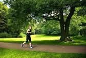 Man Running in Park — Stock Photo
