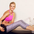 Gym Woman with a Pilates Ball — Stock Photo #14394253