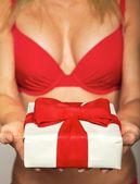 Sexy female in red underwear offering a gift — Stock Photo