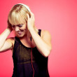 Attractive Woman Enjoying the Music from Her MP3 Player — Stock Photo