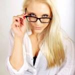 Pretty Career Woman Adjusting Her Eyeglasses — Stock Photo