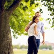 Cheerful Couple in Love at the Park — Stock Photo
