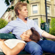 Foto Stock: Couple in Love Relaxing Outdoors