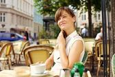 Woman Enjoying the Pleasant Morning with a Cup of Coffee — Stock Photo