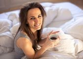 With a Cup of Coffee to Start the Morning Right — Stock Photo