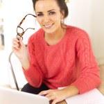Woman Enjoying Her Job as a Freelancer — Stock Photo