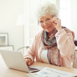 Mature Woman at Home Using Laptop — Stock Photo