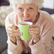 Mature Lady at Home Drinking Tea — Stock Photo #27201515