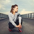 Fitness Runner on the Bridge Resting — Stock Photo