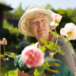 Relaxed mature lady working in her garden — Stock Photo