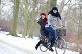 Duas mulheres atraentes e desfrutar do ar livre frio — Foto Stock
