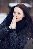 Woman Shivering in the Frozen Outdoors — Stock Photo