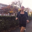 Woman Running in Park in the Autumn — Stock Video